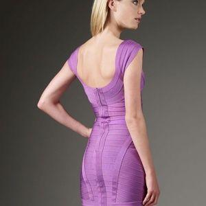 Purple Cap Sleeve Mini Herve Leger Bandage Dresses